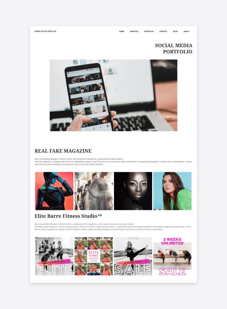 the social media portfolio of robin fator creative