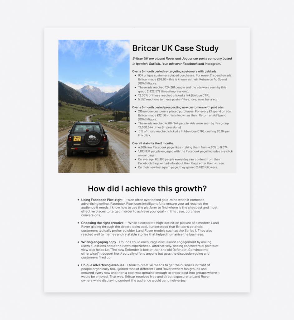 britcar UK social media case study presented on scarlett mansfield's website