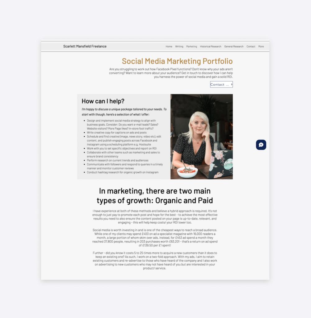screenshot of the social media marketing portfolio of scarlett mansfield freelancer