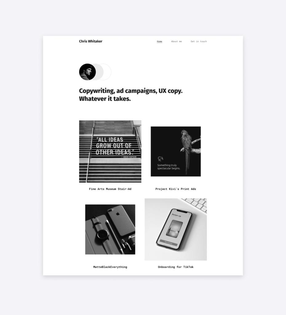 a minimalist portfolio template for advertising copywriters by Copyfolio: Typewriter.