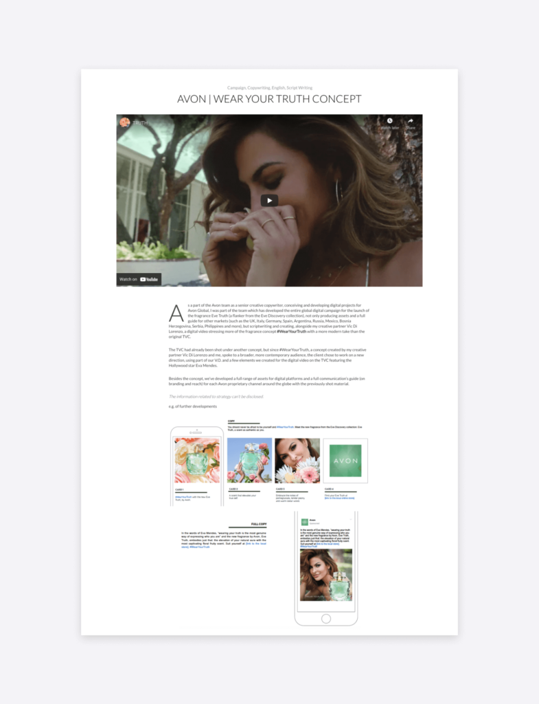 "screenshot of vikki gois's social media case study of Avon's ""wear your truth"" campaign"