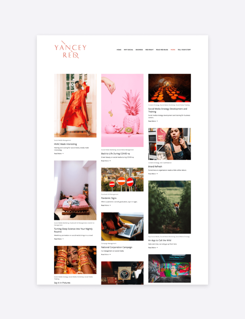 screenshot of the portfolio page of yancey red social media agency