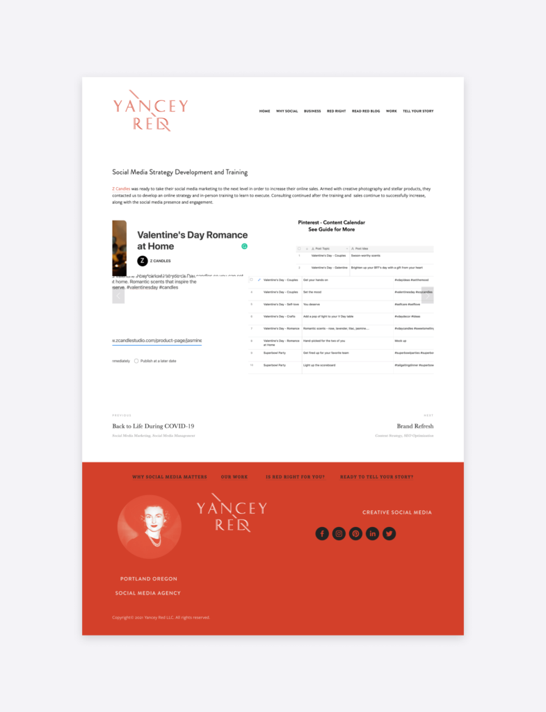 examples of a social media case study by yancey red