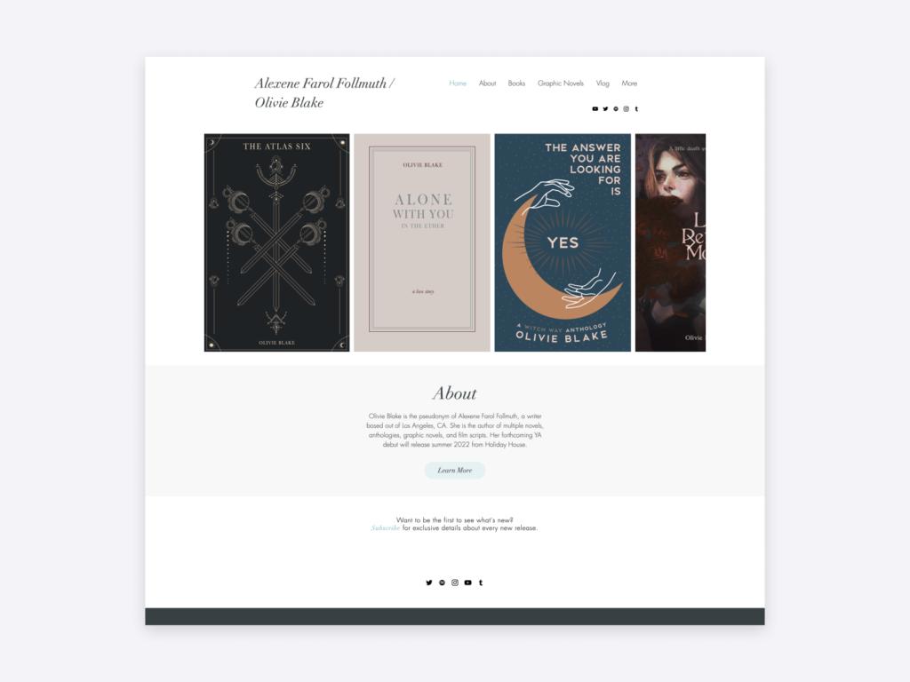The homepage on Olivie Blake's author website.