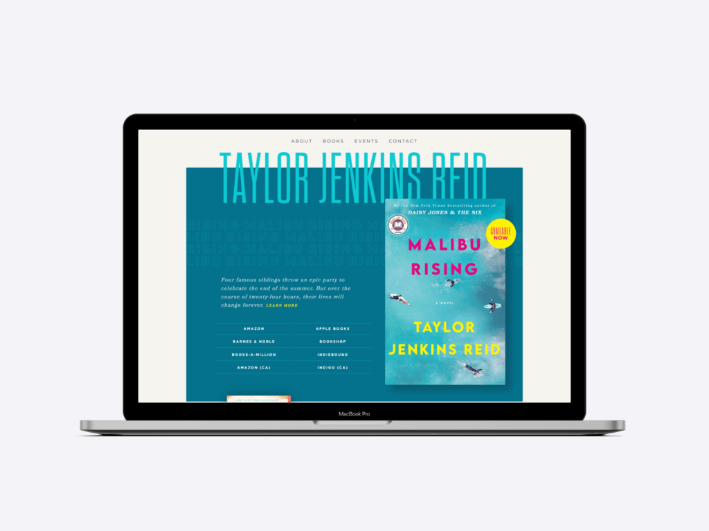 Author website example: the page of Taylor Jenkins Reid.