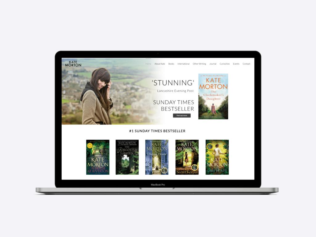 Screenshot of the website of Kate Morton author.