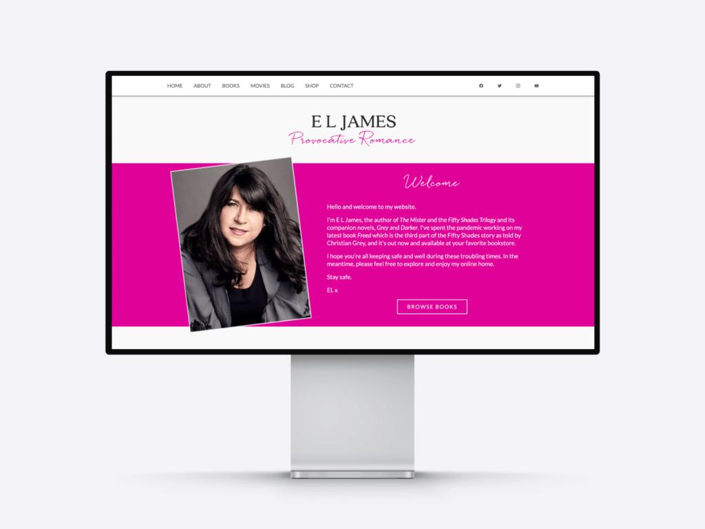 The website of provocative romance author E. L. James
