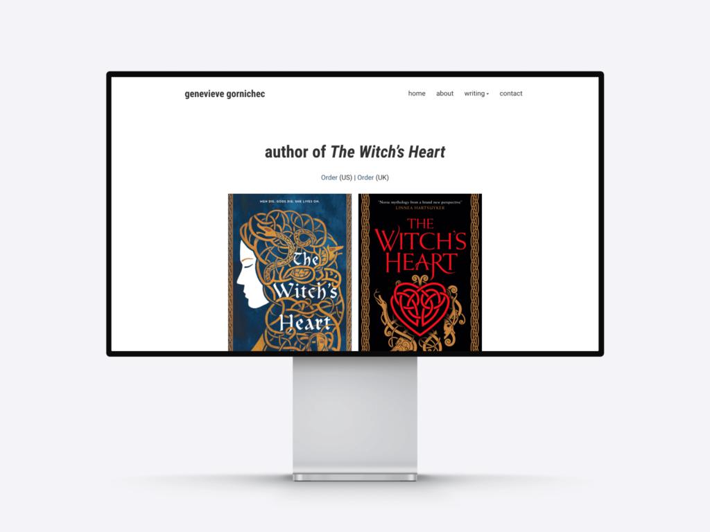 Screenshot of the author website of Genevieve Gornichec