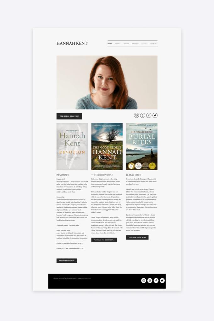 Screenshot of the author website of Hannah Kent