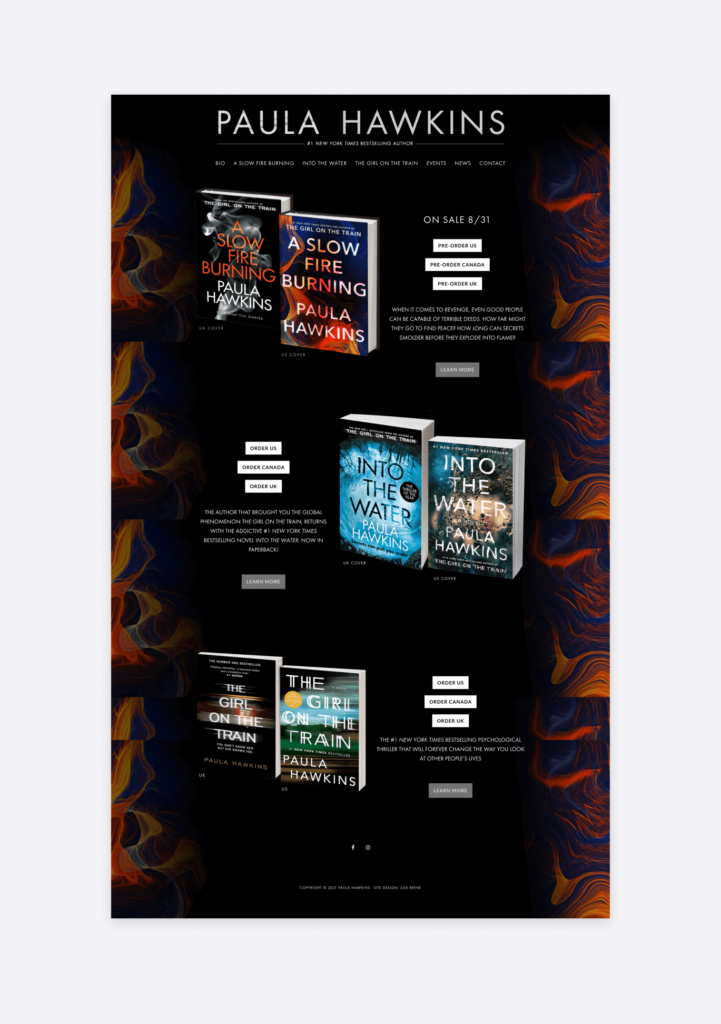 Screenshot of the website of best-selling author Paula Hawkins
