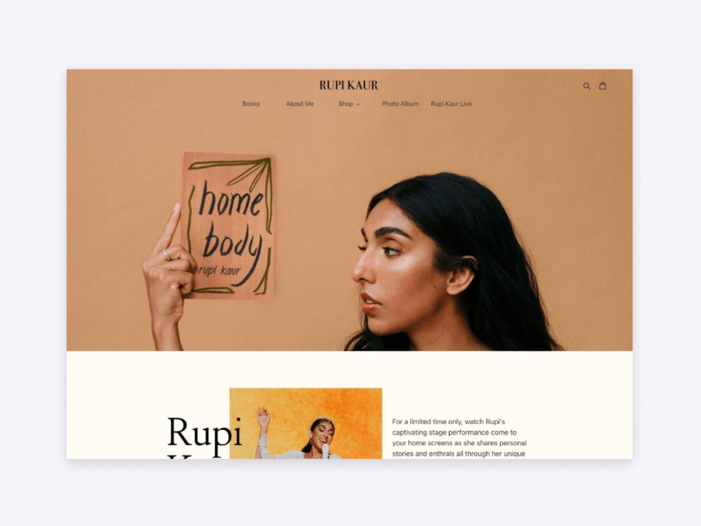 The website of poet and author Rupi Kaur.