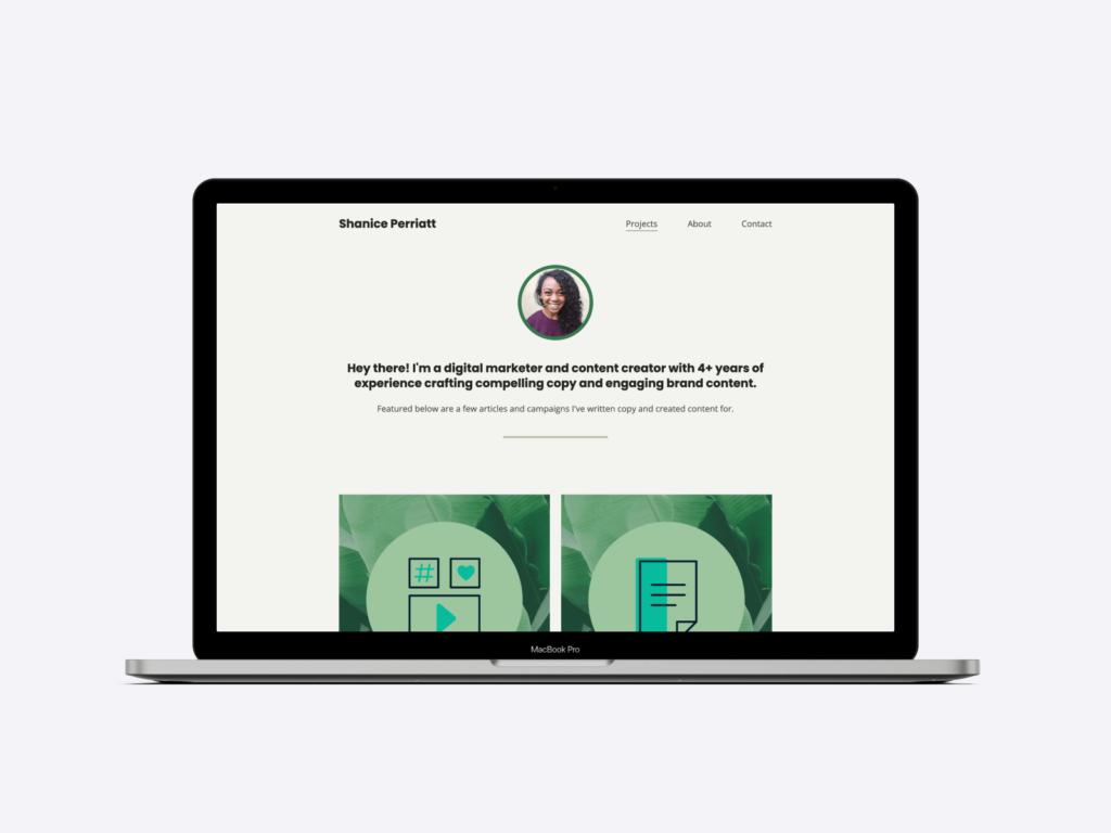 The copywriting portfolio website of digital marketer and content creator Shanice Perriatt