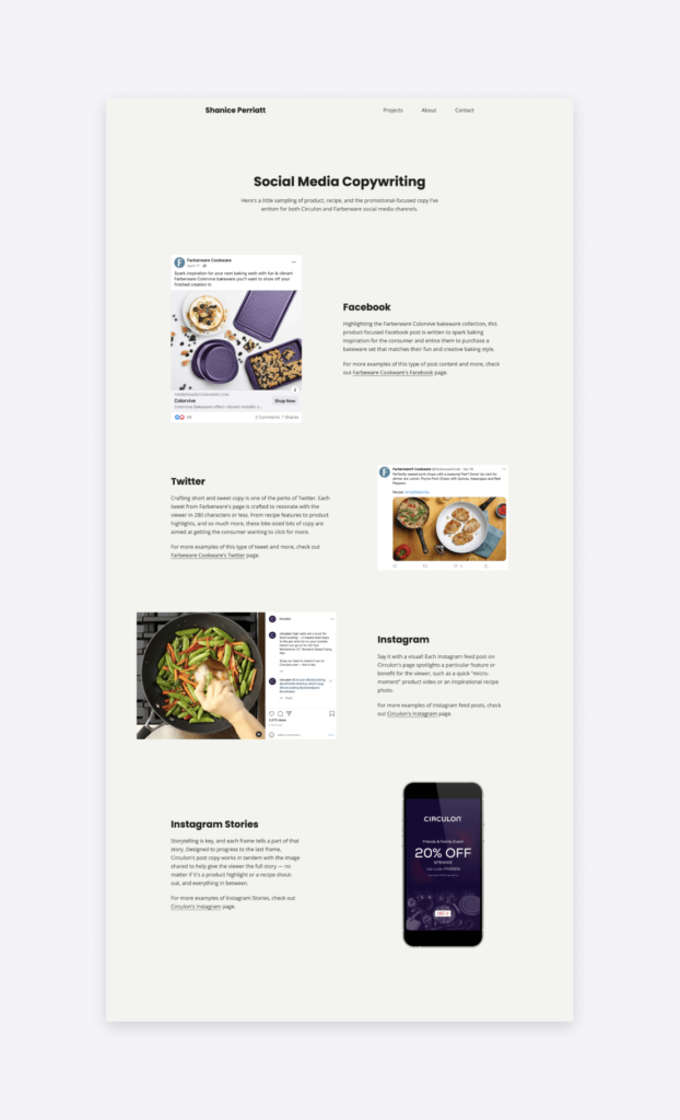 Social media content pieces showcased on a writing portfolio page.