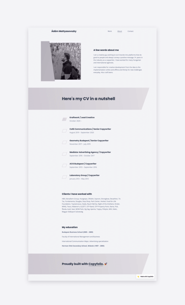 The about page and copywriter resume of Ádám Mattyasovszky, Lead Creative at Kraftwork.