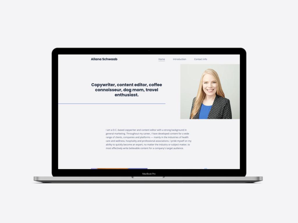 The homepage of Allana Schwaab's copywriting portfolio website.