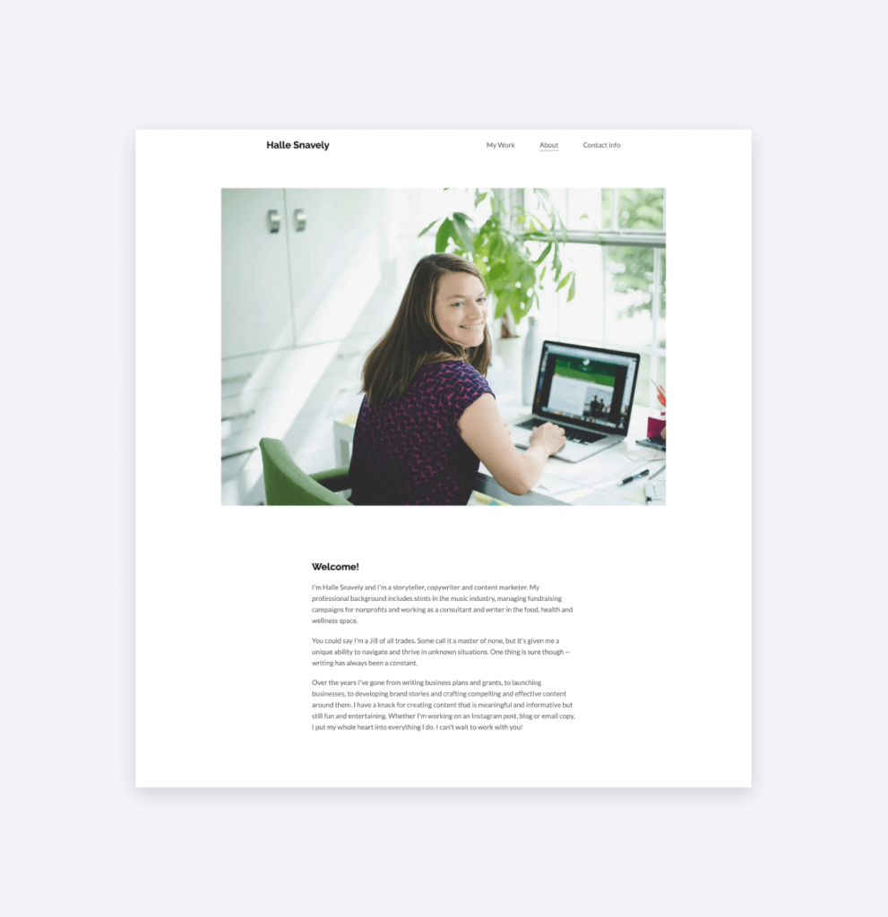 Halle Snavely's about page on her portfolio website.