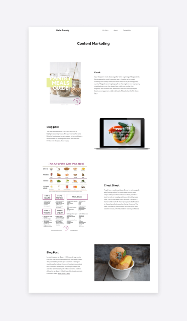 A screenshot of the content marketing samples that Halle Snavely has on her writing portfolio website.