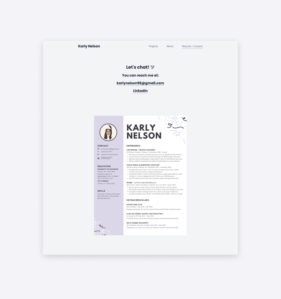 The contact page and copywriter resume of Karly Nelson.