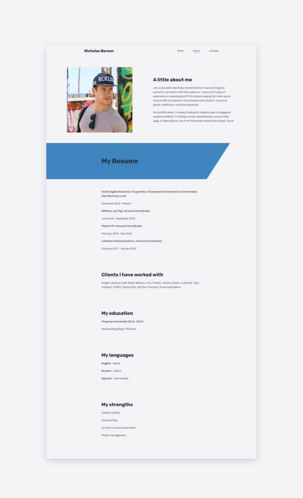 screenshot of the copywriter resume of Nicholas Berson, found on his website