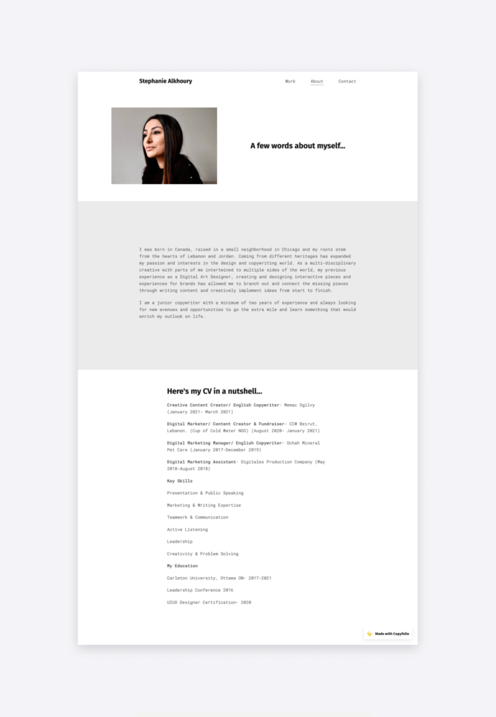 The about page and resume of Stephanie Alkhoury, featured on her portfolio website.